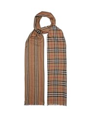 Burberry Check And Icon Stripe Wool And Silk Gauze Scarf Beige Print
