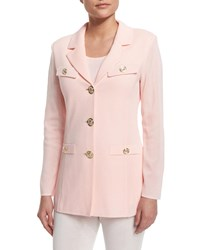 Misook Dressed Up Button Front Jacket White Plus Size Rose Water