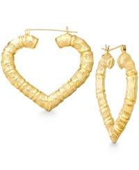 Macy's Bamboo Heart Hoop Earrings In 10K Gold