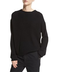 Vince Long Sleeve Rib Slit Back Top Black
