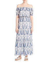Joie Villy Printed Silk Off The Shoulder Dress Periwinkle