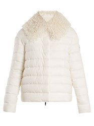 Moncler Gamme Rouge Fur Trimmed Quilted Down Cashmere Jacket Cream
