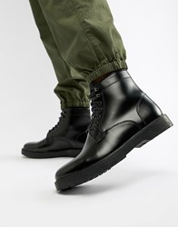 Zign Lace Up Boots In Black High Shine