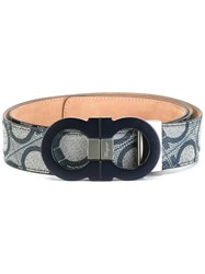 Salvatore Ferragamo All Over Double Gancini Belt Blue