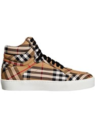 Burberry Vintage Check Cotton High Top Sneakers Yellow And Orange