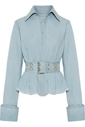 Marques' Almeida Oversized Frayed Cotton Chambray Shirt Light Denim