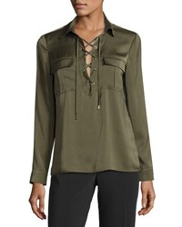 Laundry By Shelli Segal Lace Up Collar Blouse Olive