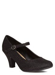 Evans Extra Wide Fit Mary Jane Heeled Shoes Black