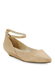 Seychelles Drove Leather Ankle Strap Wedges Beige