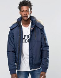 Tommy Hilfiger Denim Bomber Jacket With Faux Fur Trim In Navy Navy