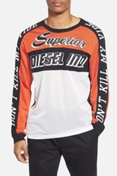 Diesel R 'Gregor' Long Sleeve Mesh And Jersey Moto T Shirt White