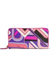 Emilio Pucci Printed Textured Leather Wallet Pink