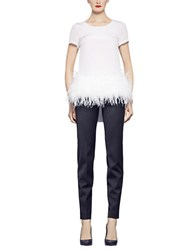 Pink Tartan Feather Trim Tee
