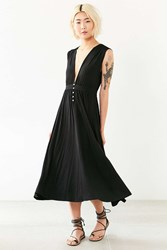 Silence And Noise Button Plunge Knit Midi Dress Black