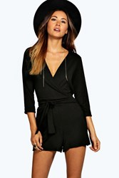 Boohoo Self Belt Relaxed Fit Playsuit Black