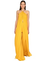 Elie Saab Halter Neck Silk Georgette Top W Chain Yellow