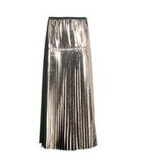 Stella Mccartney Carmen Metallic Pleated Satin Skirt Green