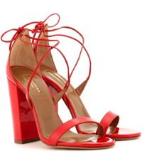 Aquazzura Lily 105 Patent Leather Sandals Red