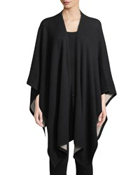 Neiman Marcus Cashmere Two Tone Shawl Wrap Black