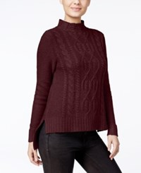 Kensie High Low Cable Knit Sweater Wildberry
