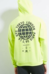 Forever 21 Human Condition Graphic Hoodie Neon Green Black