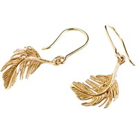 Alex Monroe Little Feather Hook Drop Earrings Gold