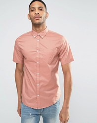 New Look Regular Fit Poplin Shirt With Short Sleeves In Pink Mid Pink