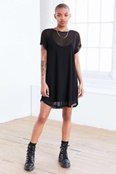 Silence And Noise Mesh T Shirt Mini Slip Dress Black