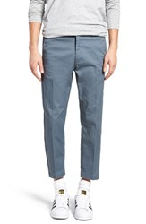 Obey Men's 'Straggler Flodded' Slim Fit Stretch Cotton Pants Grey Blue