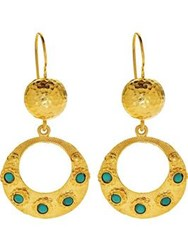 Ottoman Hands Small Turquoise Circle Earrings Gold Plated