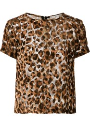 Alice Olivia 'Fall Leopard' T Shirt Brown