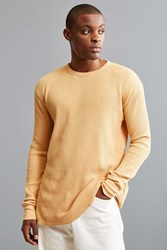 Urban Outfitters Uo Waffle Thermal Crew Long Sleeve Tee Burnt Orange