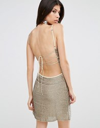 Walter Baker Shirley Sequin Stripe Mini Dress Taupe Silver