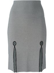 Alexander Wang Fitted Gingham Pencil Skirt Black