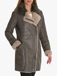 Betty Barclay Faux Shearling Coat Slate Taupe