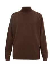 Raey Loose Fit Funnel Neck Cashmere Sweater Brown