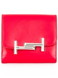Tod's Logo Plaque Wallet Red