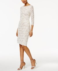 Jessica Howard Sequined Lace Sheath Dress Cream Multi