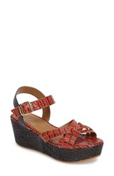 Callisto Women's Valencia Platform Wedge Sandal Red Faux Leather