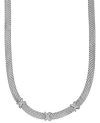 Macy's Diamond X Accent Mesh Necklace In Sterling Silver 3 8 Ct. T.W.