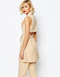 Lavish Alice Open Back Oversized D Ring Belt Sleeveless Trench Coat Nude