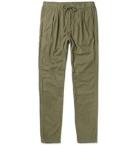 Nonnative Farmer Slim Fit Tapered Brushed Cotton And Wool Blend Trousers Army Green
