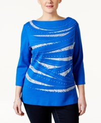 Karen Scott Plus Size Embellished Three Quarter Sleeve Top Only At Macy's
