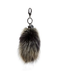 Rebecca Minkoff Fox Tail Key Fob Black Multi Silver