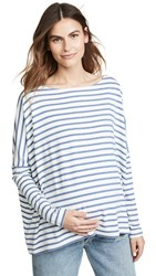 Hatch Long Sleeve T Shirt Chambray Ivory Stripe