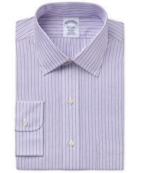 Brooks Brothers Men's Regent Classic Fit Purple Striped Dress Shirt