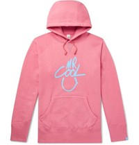 Beams Plus Printed Loopback Cotton Jersey Hoodie Pink