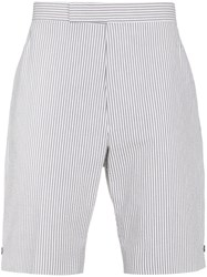 Thom Browne Striped Linen Shorts Grey