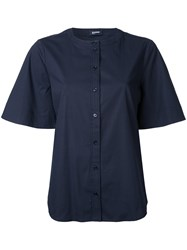 Jil Sander Navy Collarless Butoned Shirt Blue