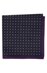 Ted Baker Men's London Paisley Dot Double Sided Wool Pocket Square Charcoal